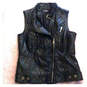 Bebe Black Leather Zip Up Vest🖤